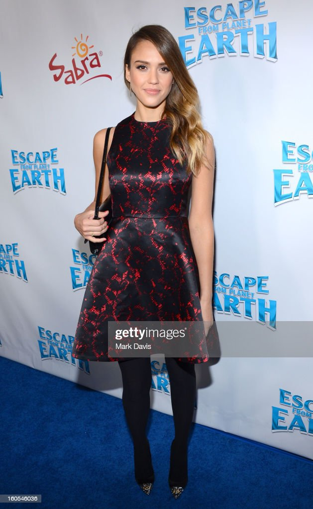 Actress <a gi-track='captionPersonalityLinkClicked' href=/galleries/search?phrase=Jessica+Alba&family=editorial&specificpeople=201811 ng-click='$event.stopPropagation()'>Jessica Alba</a> attends the premiere of the Weinstein Company's 'Escape From Planet Earth' held at the Mann Chinese 6 on February 2, 2013 in Los Angeles, California.