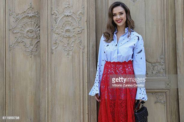 Actress Jessica Alba attends the Valentino show as part of the Paris Fashion Week Womenswear Spring/Summer 2017 on October 2 2016 in Paris France