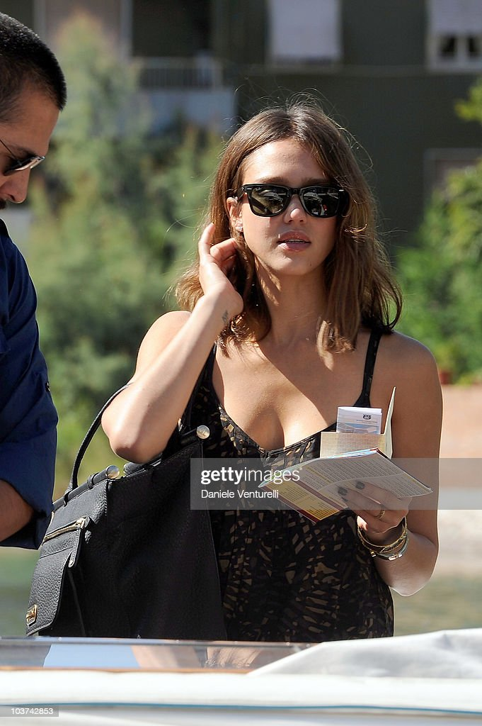 Actress Jessica Alba boarding a water taxi at the Excelsior Hotel ahead of the 67th Venice Film Festival on August 31, 2010 in Venice, Italy.