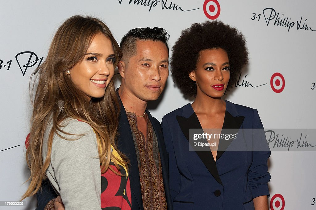 Actress <a gi-track='captionPersonalityLinkClicked' href=/galleries/search?phrase=Jessica+Alba&family=editorial&specificpeople=201811 ng-click='$event.stopPropagation()'>Jessica Alba</a>, designer Phillip Lim, and Solange attend the 3.1 Phillip Lim for Target Launch Event at Spring Studio on September 5, 2013 in New York City.