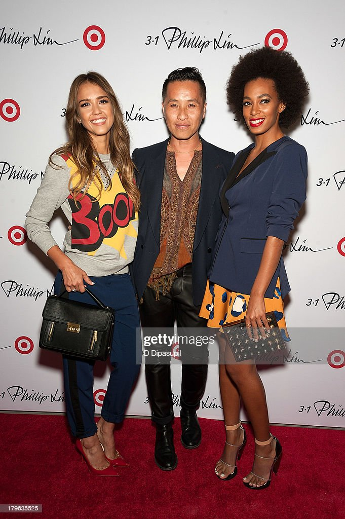 Actress Jessica Alba, designer Phillip Lim, and Solange attend the 3.1 Phillip Lim for Target Launch Event at Spring Studio on September 5, 2013 in New York City.