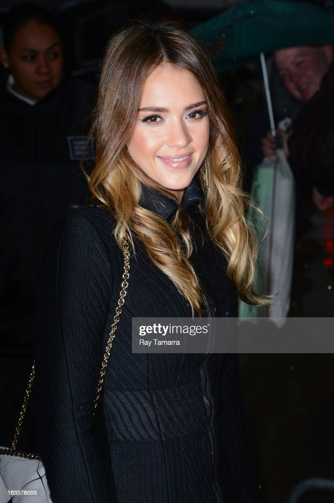 Actress <a gi-track='captionPersonalityLinkClicked' href=/galleries/search?phrase=Jessica+Alba&family=editorial&specificpeople=201811 ng-click='$event.stopPropagation()'>Jessica Alba</a> enters the 'Good Morning America' taping at the ABC Times Square Studios on March 12, 2013 in New York City.