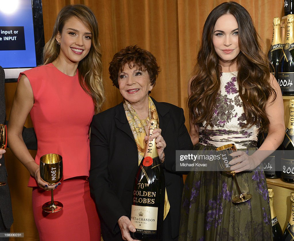 Actress <a gi-track='captionPersonalityLinkClicked' href=/galleries/search?phrase=Jessica+Alba&family=editorial&specificpeople=201811 ng-click='$event.stopPropagation()'>Jessica Alba</a>, Hollywood Foreign Press Association (HFPA) President Dr. Aida Takla-O'Reilly, and actress <a gi-track='captionPersonalityLinkClicked' href=/galleries/search?phrase=Megan+Fox&family=editorial&specificpeople=2239934 ng-click='$event.stopPropagation()'>Megan Fox</a> toast the 70th Annual Golden Globe Nominations with Moet & Chandon at the The Beverly Hilton on December 13, 2012 in Los Angeles, California.