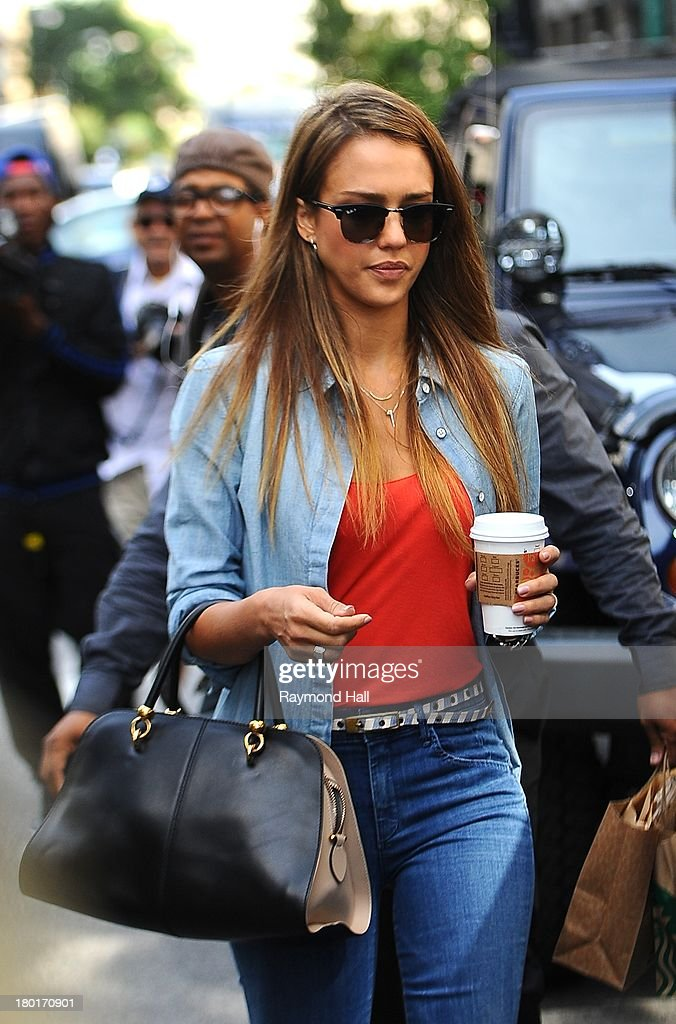 Actress <a gi-track='captionPersonalityLinkClicked' href=/galleries/search?phrase=Jessica+Alba&family=editorial&specificpeople=201811 ng-click='$event.stopPropagation()'>Jessica Alba</a> is seen in Soho on September 9, 2013 in New York City.