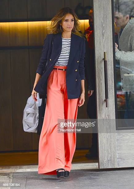 Actress Jessica Alba is seen in walking in Soho on April 14 2015 in New York City