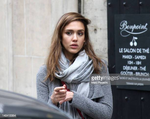 Actress Jessica Alba is sighted leaving the 'Bonpoint' store on March 2 2012 in Paris France