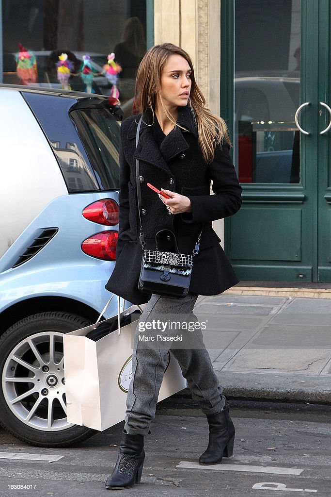 Actress <a gi-track='captionPersonalityLinkClicked' href=/galleries/search?phrase=Jessica+Alba&family=editorial&specificpeople=201811 ng-click='$event.stopPropagation()'>Jessica Alba</a> is sighted leaving the 'Bonpoint' store on March 4, 2013 in Paris, France.