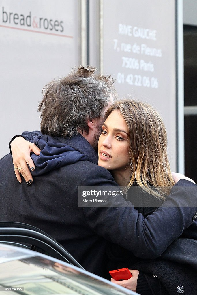 Actress <a gi-track='captionPersonalityLinkClicked' href=/galleries/search?phrase=Jessica+Alba&family=editorial&specificpeople=201811 ng-click='$event.stopPropagation()'>Jessica Alba</a> is sighted leaving the 'Bread & Roses' restaurant on March 4, 2013 in Paris, France.