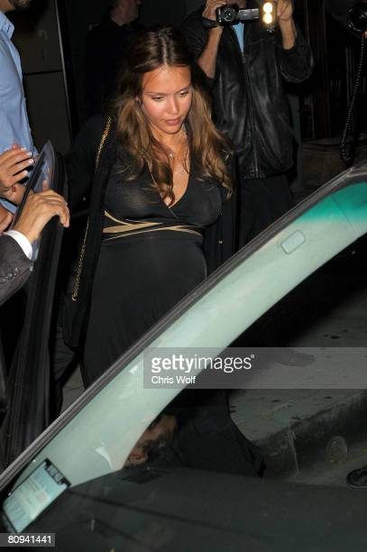 Actress Jessica Alba leaves Mr Chow after dinner with Cash Warren on April 30 2008 in Beverly Hills California