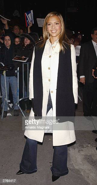 Actress Jessica Alba meets fans after a taping of Late Show With David Letterman at the Ed Sullivan Theater November 26 2003 in New York City Alba is...