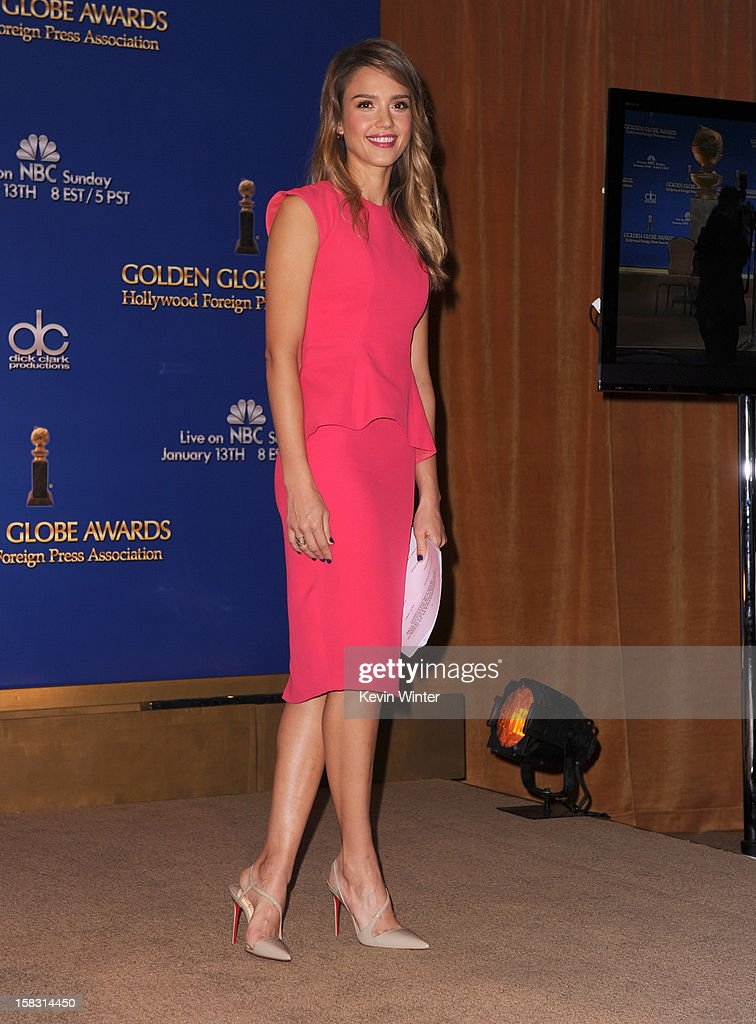 Actress <a gi-track='captionPersonalityLinkClicked' href=/galleries/search?phrase=Jessica+Alba&family=editorial&specificpeople=201811 ng-click='$event.stopPropagation()'>Jessica Alba</a> poses during the 70th Annual Golden Globes Awards Nominations at the Beverly Hilton Hotel on December 13, 2012 in Los Angeles, California.