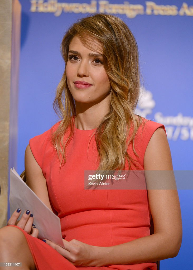 Actress Jessica Alba poses during the 70th Annual Golden Globes Awards Nominations at the Beverly Hilton Hotel on December 13, 2012 in Los Angeles, California.