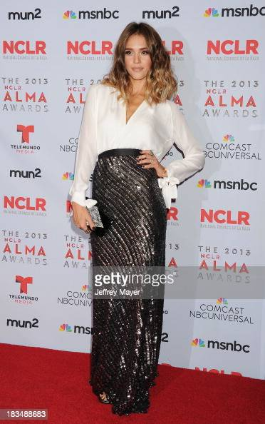 Actress Jessica Alba poses in the press room at the 2013 NCLA ALMA Awards at Pasadena Civic Auditorium on September 27 2013 in Pasadena California