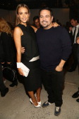 Actress Jessica Alba poses with designer Narciso Rodriguez backstage during the Narciso Rodriguez Spring 2014 fashion show held at Sir Stage37 on...