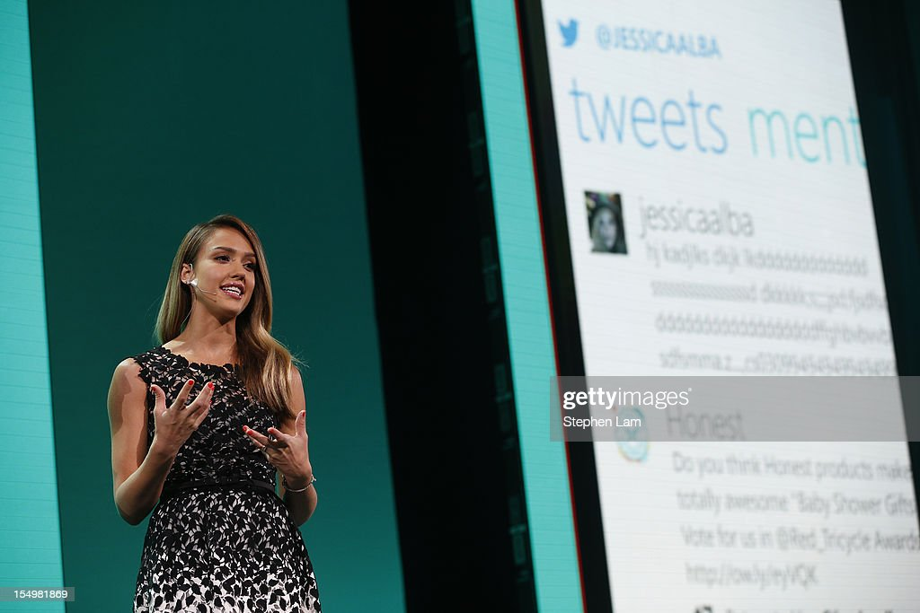 Actress <a gi-track='captionPersonalityLinkClicked' href=/galleries/search?phrase=Jessica+Alba&family=editorial&specificpeople=201811 ng-click='$event.stopPropagation()'>Jessica Alba</a> speaks on stage during the Microsoft Windows Phone 8 event at Bill Graham Civic Auditorium on October 29, 2012 in San Francisco, California. The Windows Phone 8 marks the Seattle-based company's latest update from its two-year-old Windows Phone 7 platform as the company looks to regain its traction in the increasingly dense smartphone segment dominated by rivals Apple and Google.