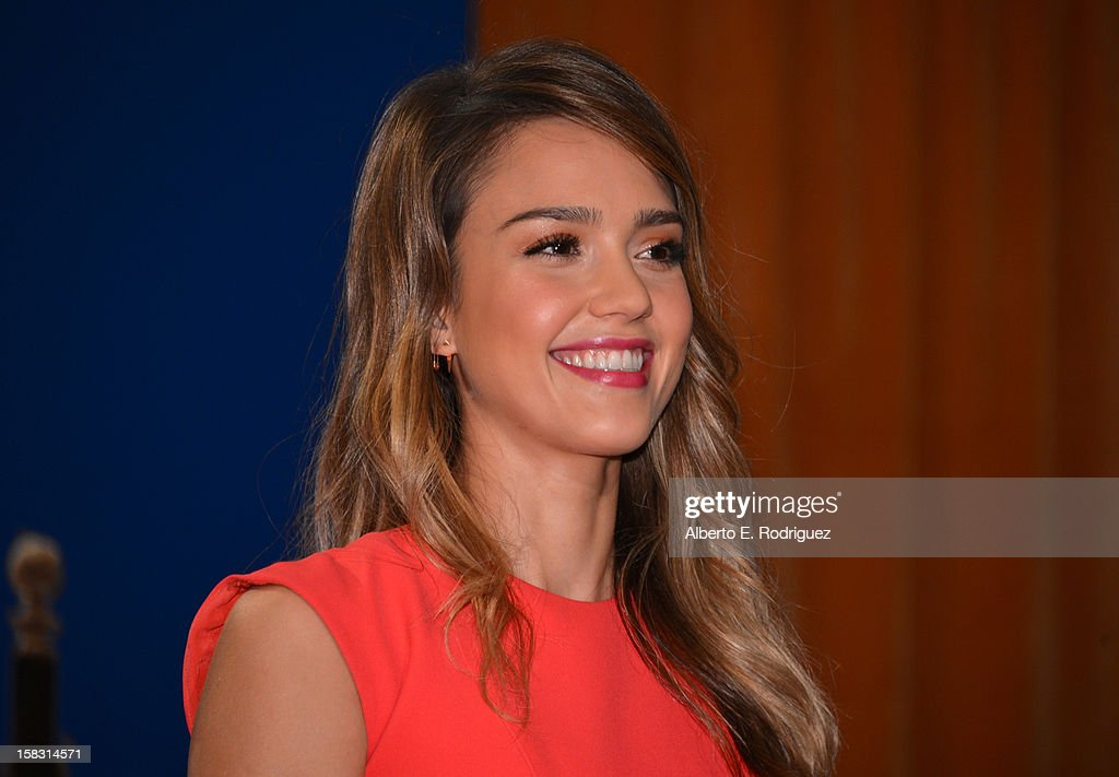 Actress <a gi-track='captionPersonalityLinkClicked' href=/galleries/search?phrase=Jessica+Alba&family=editorial&specificpeople=201811 ng-click='$event.stopPropagation()'>Jessica Alba</a> speaks onstage at the 70th Annual Golden Globe Awards Nominations held at The Beverly Hilton Hotel on December 13, 2012 in Beverly Hills, California.