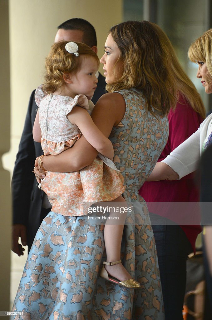 Actress <a gi-track='captionPersonalityLinkClicked' href=/galleries/search?phrase=Jessica+Alba&family=editorial&specificpeople=201811 ng-click='$event.stopPropagation()'>Jessica Alba</a> with daughter Haven Warren arrives at The Helping Hand of Los Angeles Mother's Day Luncheon at The Beverly Hilton Hotel on May 9, 2014 in Beverly Hills, California.