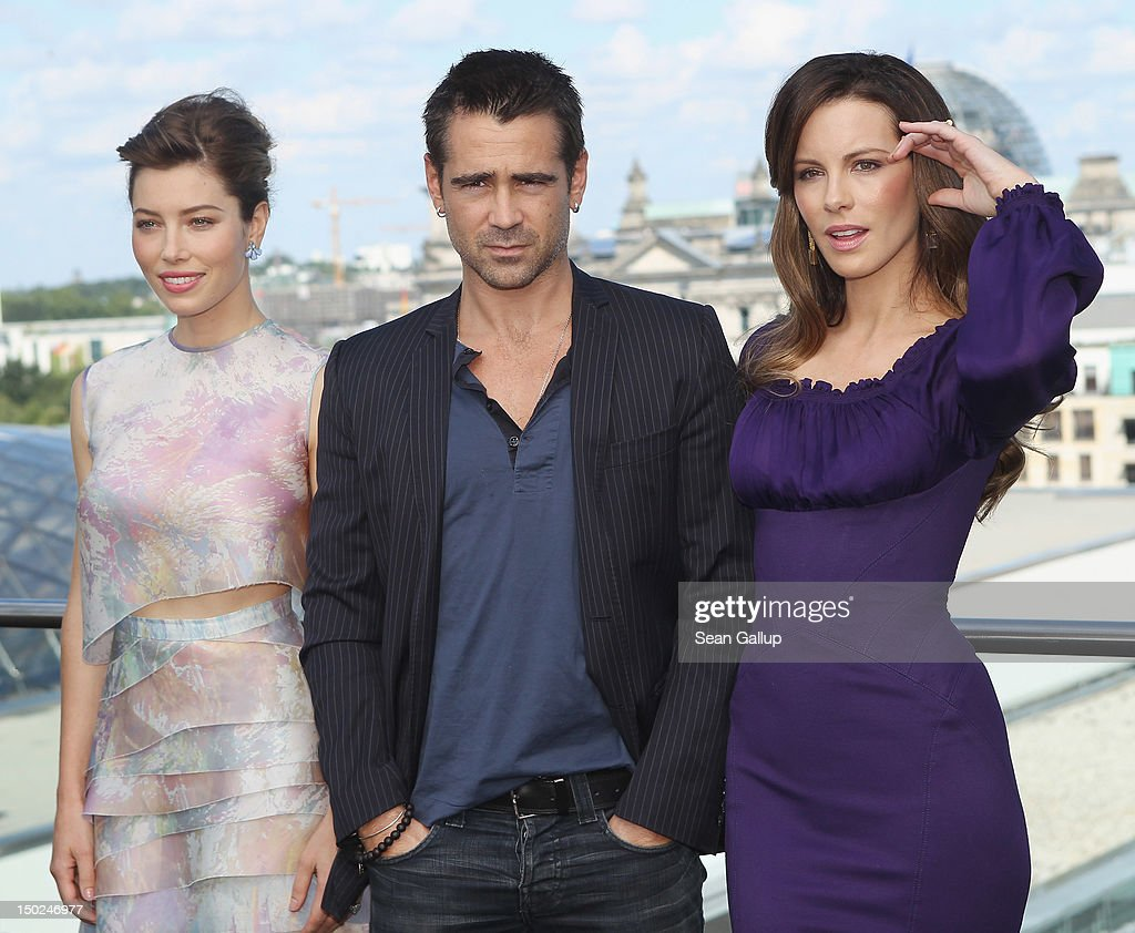 Actress <a gi-track='captionPersonalityLinkClicked' href=/galleries/search?phrase=Jessica+Biel&family=editorial&specificpeople=203011 ng-click='$event.stopPropagation()'>Jessica Biel</a>, actor <a gi-track='captionPersonalityLinkClicked' href=/galleries/search?phrase=Colin+Farrell&family=editorial&specificpeople=202154 ng-click='$event.stopPropagation()'>Colin Farrell</a> and actress <a gi-track='captionPersonalityLinkClicked' href=/galleries/search?phrase=Kate+Beckinsale&family=editorial&specificpeople=202911 ng-click='$event.stopPropagation()'>Kate Beckinsale</a> attend the Berlin to photocall for 'Total Recall' on the terrace of the China Club on August 13, 2012 in Berlin, Germany.