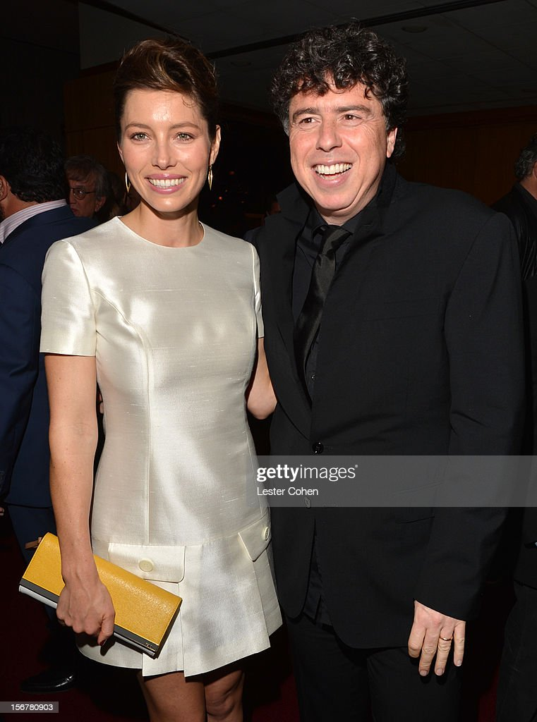 Actress Jessica Biel and director Sacha Gervasi attend the after party for the premiere of Fox Searchlight Pictures' 'Hitchcock' at the Academy of Motion Picture Arts and Sciences Samuel Goldwyn Theater on November 20, 2012 in Beverly Hills, California.
