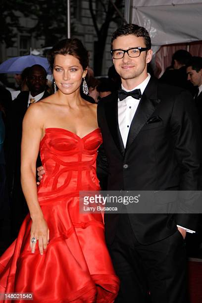Actress Jessica Biel and musician Justin Timberlake attend 'The Model as Muse Embodying Fashion' Costume Institute Gala at The Metropolitan Museum of...