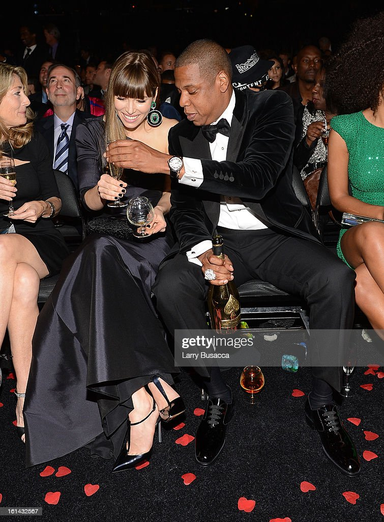 Actress Jessica Biel (L) and rapper Jay-Z attend the 55th Annual GRAMMY Awards at STAPLES Center on February 10, 2013 in Los Angeles, California.