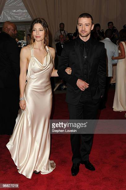 Actress Jessica Biel and singer Justin Timberlake attend the Costume Institute Gala Benefit to celebrate the opening of the 'American Woman...