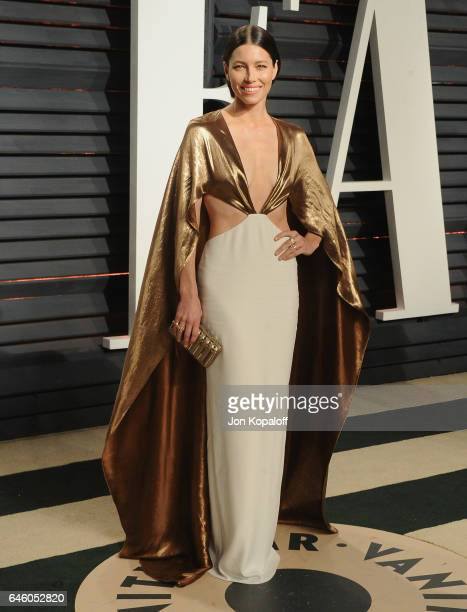 Actress Jessica Biel arrives at the 2017 Vanity Fair Oscar Party Hosted By Graydon Carter at Wallis Annenberg Center for the Performing Arts on...