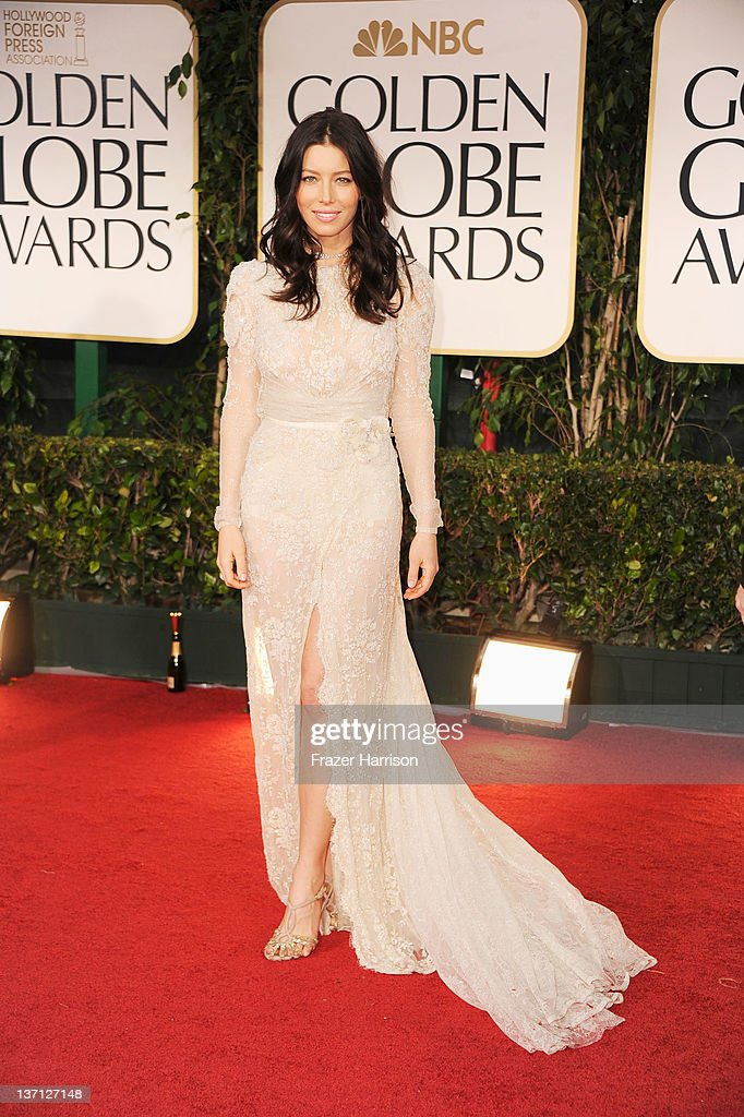 Actress Jessica Biel arrives at the 69th Annual Golden Globe Awards held at the Beverly Hilton Hotel on January 15 2012 in Beverly Hills California