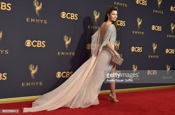Actress Jessica Biel arrives at the 69th Annual Primetime Emmy Awards at Microsoft Theater on September 17 2017 in Los Angeles California