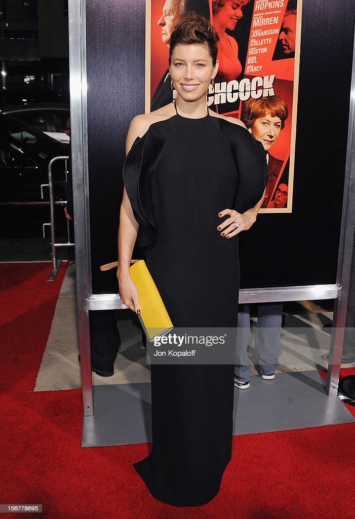 Actress <a gi-track='captionPersonalityLinkClicked' href=/galleries/search?phrase=Jessica+Biel&family=editorial&specificpeople=203011 ng-click='$event.stopPropagation()'>Jessica Biel</a> arrives at the Los Angeles Premiere 'Hitchcock' at AMPAS Samuel Goldwyn Theater on November 20, 2012 in Beverly Hills, California.