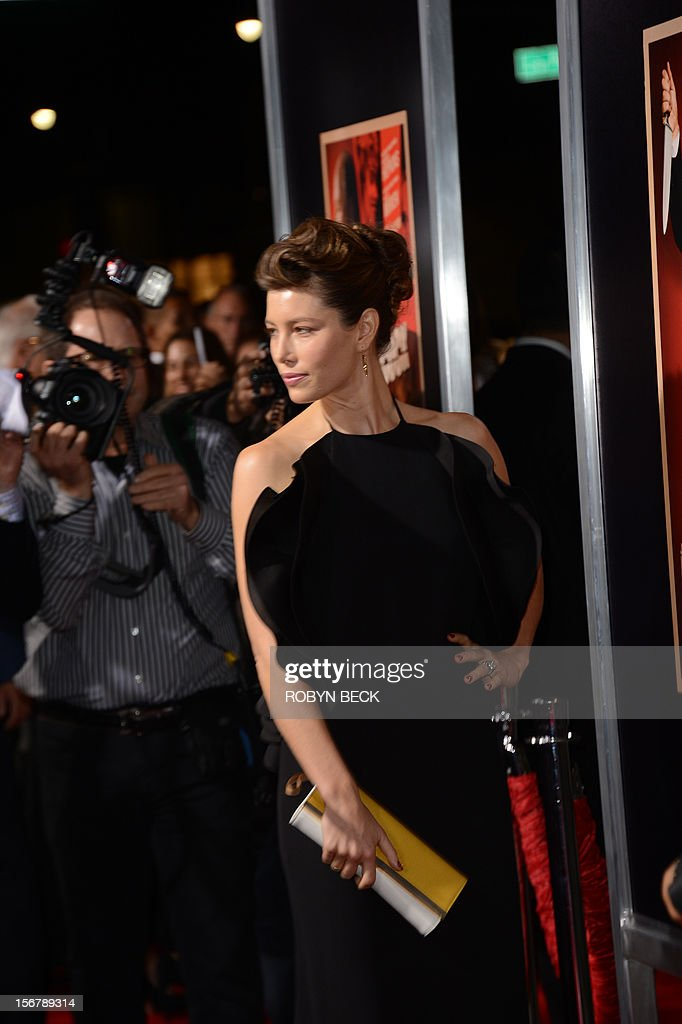 Actress Jessica Biel arrives at the Los Angeles premiere of Fox Searchlight Pictures' 'Hitchcock' at the Academy of Motion Picture Arts and Sciences, November 20, 2012 in Beverly Hills, California. AFP PHOTO / Robyn Beck
