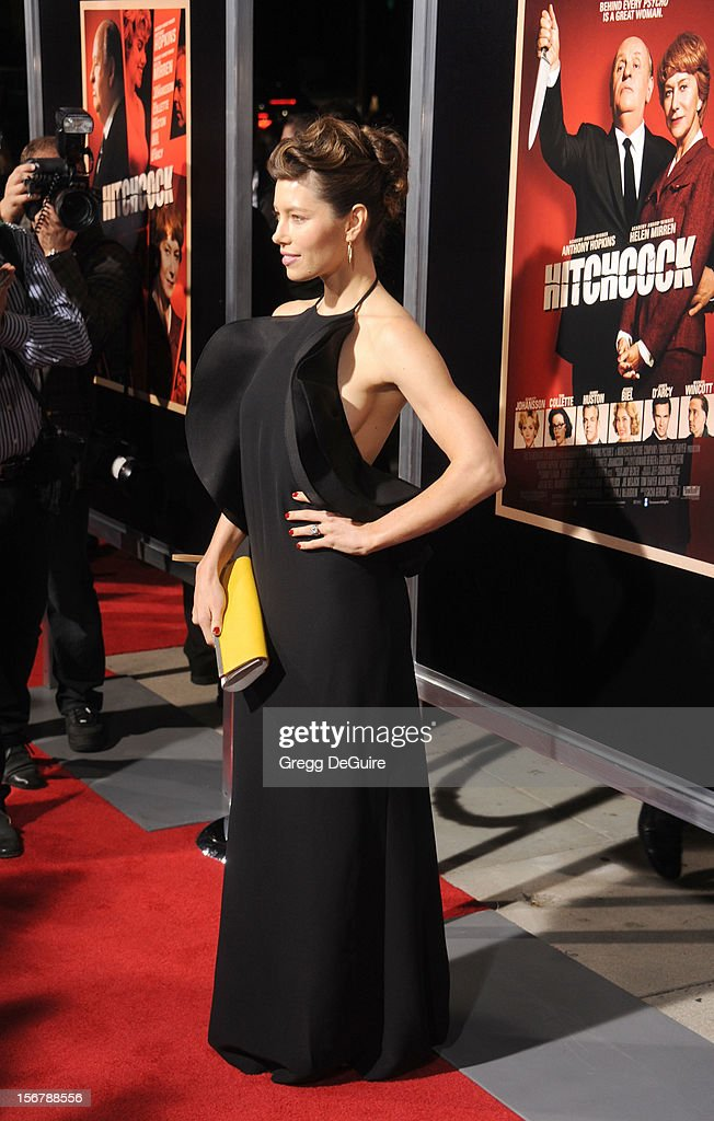 Actress <a gi-track='captionPersonalityLinkClicked' href=/galleries/search?phrase=Jessica+Biel&family=editorial&specificpeople=203011 ng-click='$event.stopPropagation()'>Jessica Biel</a> arrives at the Los Angeles premiere of 'Hitchcock' at the Academy of Motion Picture Arts and Sciences on November 20, 2012 in Beverly Hills, California.