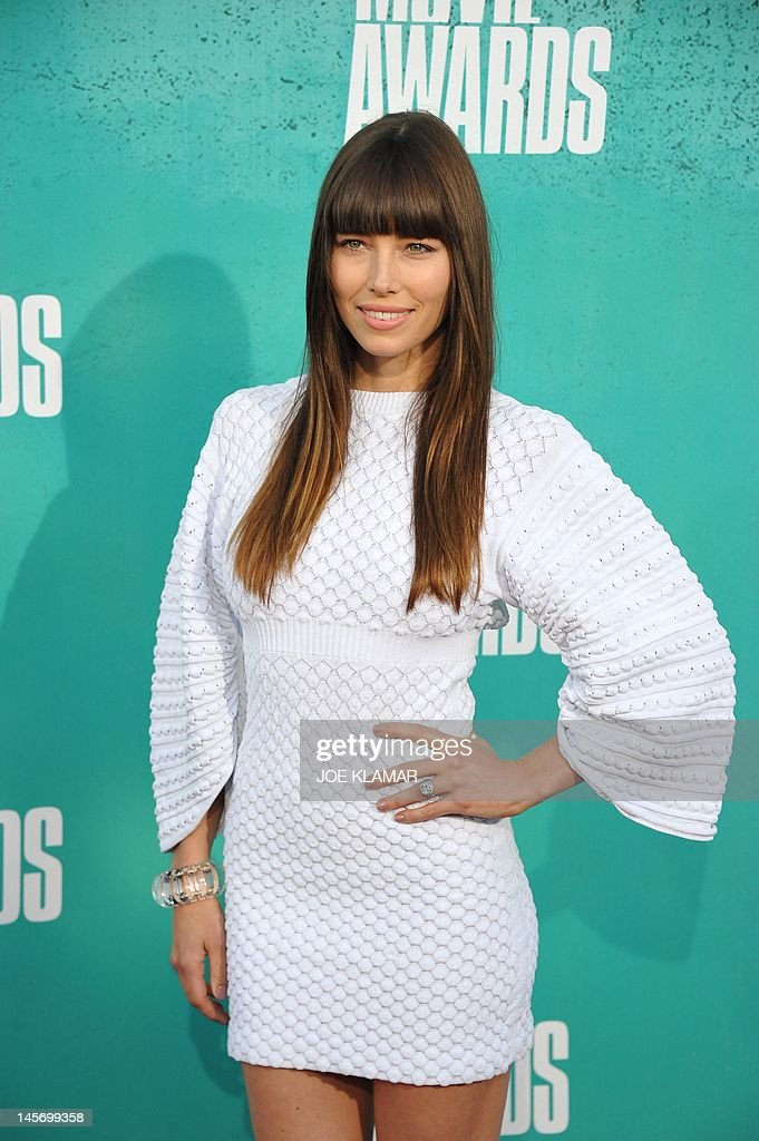 Actress Jessica Biel arrives at the MTV Movie Awards at Universal Studios, in Los Angeles, California, on June 3, 2012.