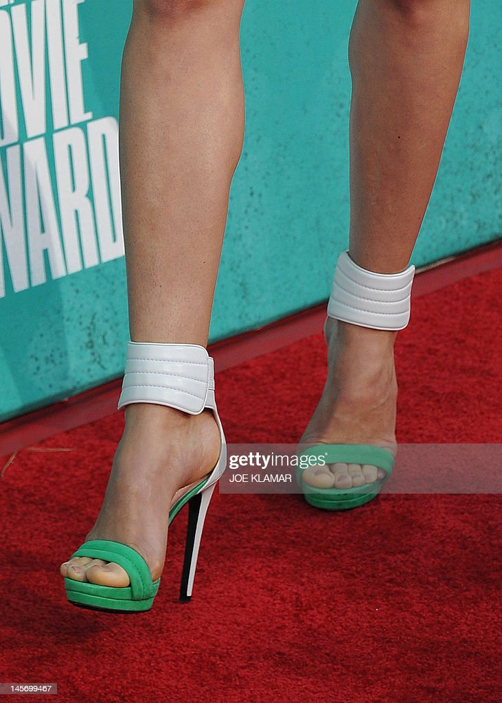 Actress Jessica Biel (shoe detail) arrives at the MTV Movie Awards at Universal Studios, in Los Angeles, California, on June 3, 2012.