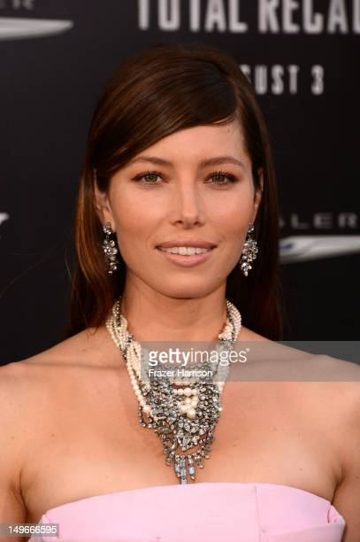 Actress Jessica Biel arrives at the premiere of Columbia Pictures' 'Total Recall' held at Grauman's Chinese Theatre on August 1 2012 in Hollywood...