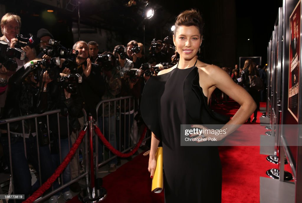 Actress <a gi-track='captionPersonalityLinkClicked' href=/galleries/search?phrase=Jessica+Biel&family=editorial&specificpeople=203011 ng-click='$event.stopPropagation()'>Jessica Biel</a> arrives at the premiere of Fox Searchlight Pictures' 'Hitchcock' at the Academy of Motion Picture Arts and Sciences Samuel Goldwyn Theater on November 20, 2012 in Beverly Hills, California.