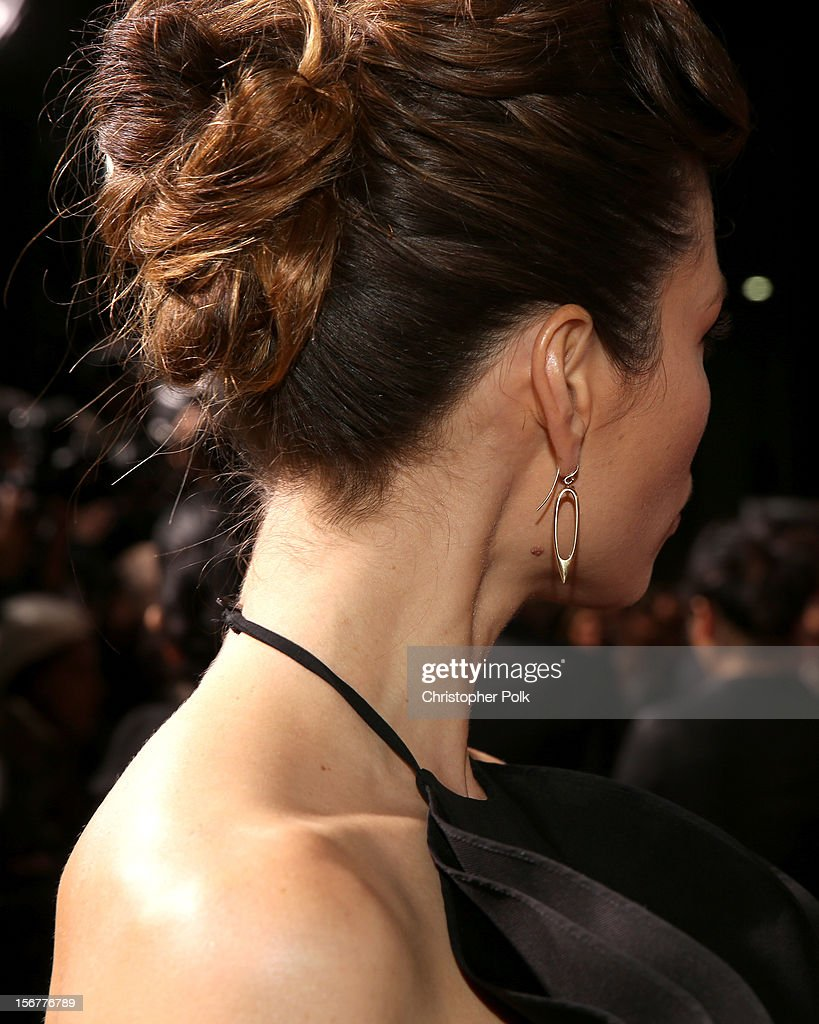 Actress Jessica Biel (earring detail) arrives at the premiere of Fox Searchlight Pictures' 'Hitchcock' at the Academy of Motion Picture Arts and Sciences Samuel Goldwyn Theater on November 20, 2012 in Beverly Hills, California.