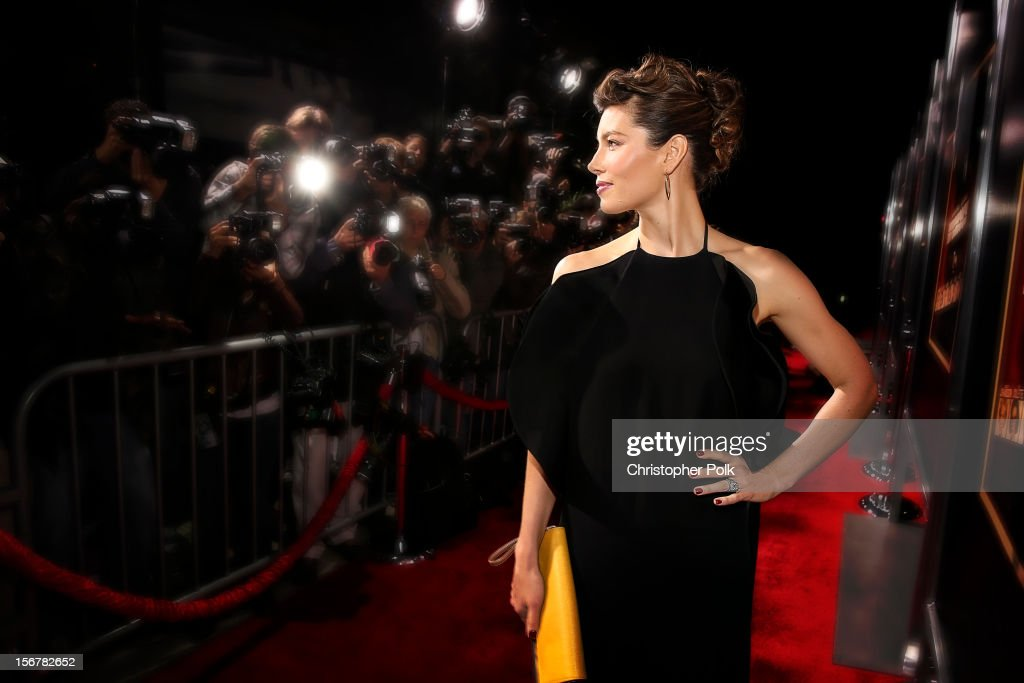 Actress Jessica Biel arrives at the premiere of Fox Searchlight Pictures' 'Hitchcock' at the Academy of Motion Picture Arts and Sciences Samuel Goldwyn Theater on November 20, 2012 in Beverly Hills, California.