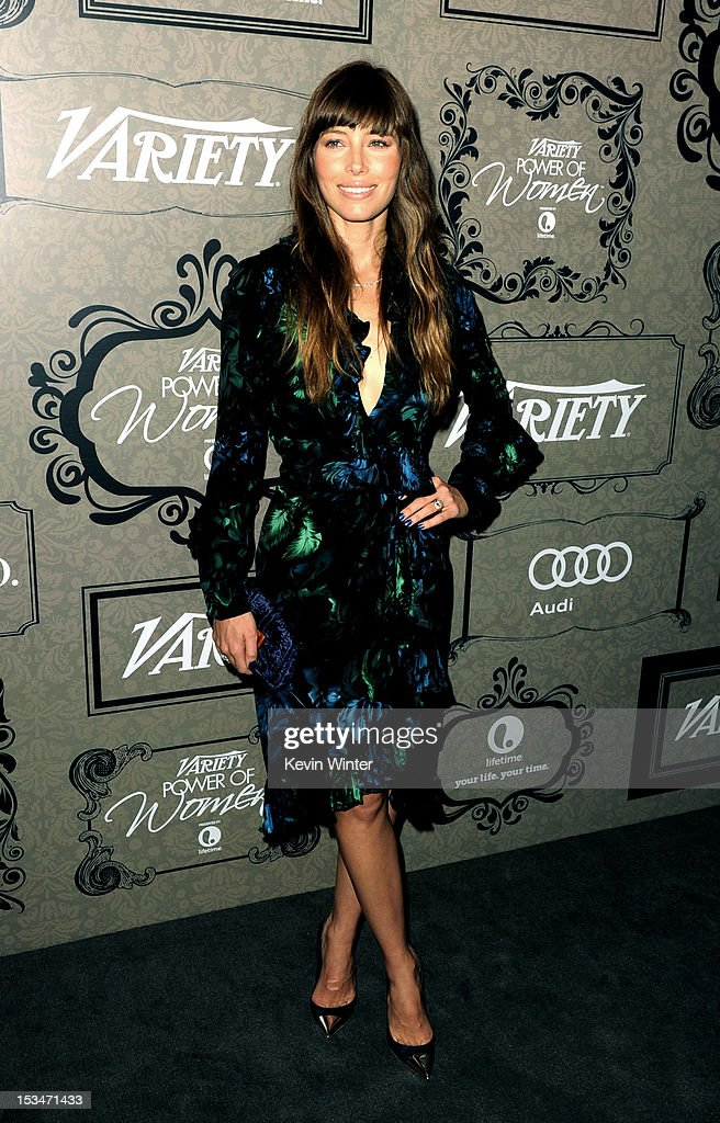 Actress <a gi-track='captionPersonalityLinkClicked' href=/galleries/search?phrase=Jessica+Biel&family=editorial&specificpeople=203011 ng-click='$event.stopPropagation()'>Jessica Biel</a> arrives at Variety's Power of Women presented by Lifetime at the Beverly Wilshire Hotel on October 5, 2012 in Beverly Hills, California.