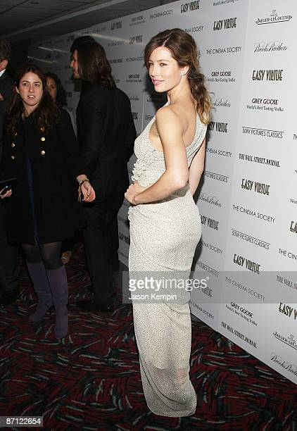 Actress Jessica Biel attends a screening of 'Easy Virtue' hosted by The Cinema Society and The Wall Street Journal with JaegerLecoultre and Brooks...