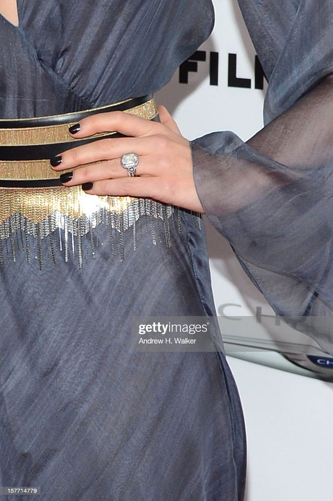 Actress Jessica Biel (ring detail) attends FilmDistrict And Chrysler With The Cinema Society Premiere Of 'Playing For Keeps' at AMC Lincoln Square Theater on December 5, 2012 in New York City.