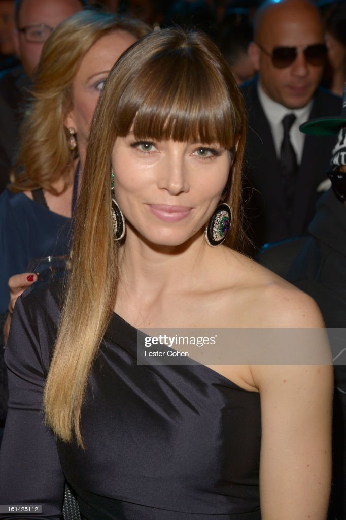 Actress Jessica Biel attends the 55th Annual GRAMMY Awards at STAPLES Center on February 10, 2013 in Los Angeles, California.