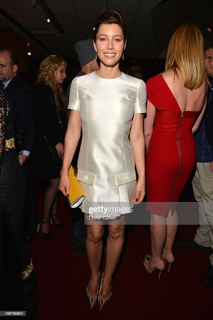 Actress <a gi-track='captionPersonalityLinkClicked' href=/galleries/search?phrase=Jessica+Biel&family=editorial&specificpeople=203011 ng-click='$event.stopPropagation()'>Jessica Biel</a> attends the after party for the premiere of Fox Searchlight Pictures' 'Hitchcock' at the Academy of Motion Picture Arts and Sciences Samuel Goldwyn Theater on November 20, 2012 in Beverly Hills, California.