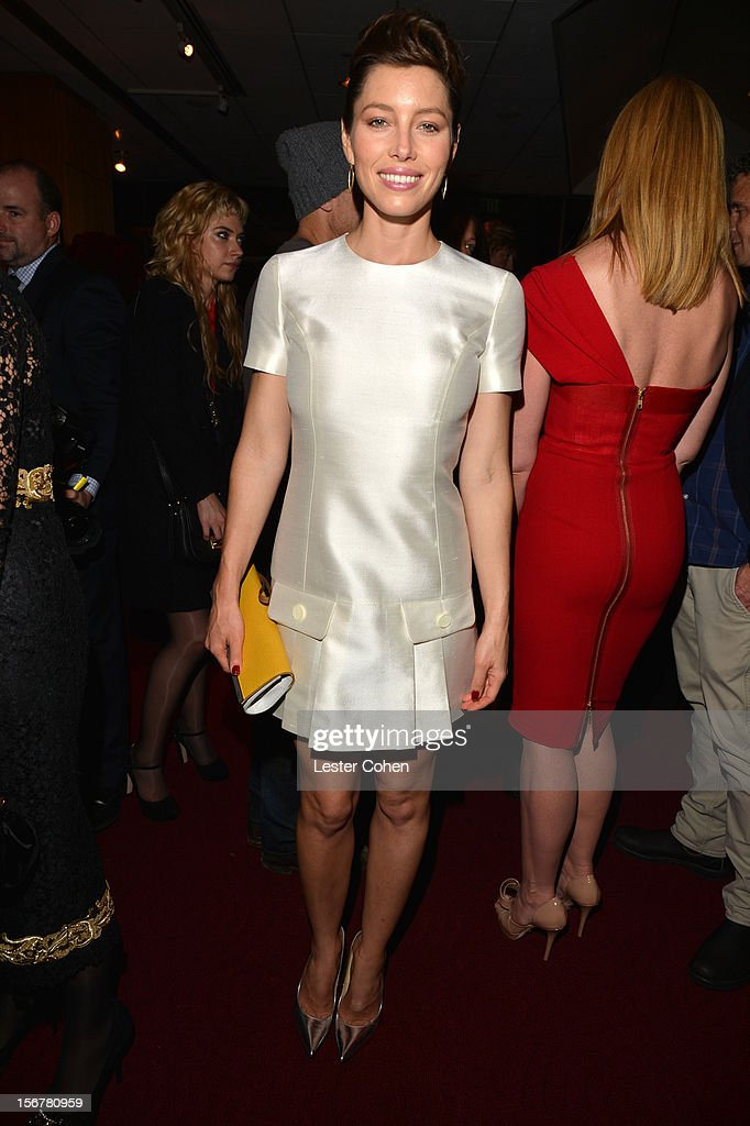 Actress Jessica Biel attends the after party for the premiere of Fox Searchlight Pictures' 'Hitchcock' at the Academy of Motion Picture Arts and Sciences Samuel Goldwyn Theater on November 20, 2012 in Beverly Hills, California.
