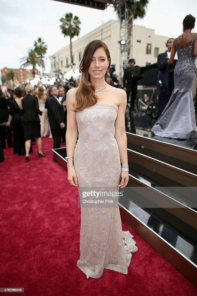 Actress Jessica Biel attends the Oscars at Hollywood & Highland Center on March 2, 2014 in Hollywood, California.