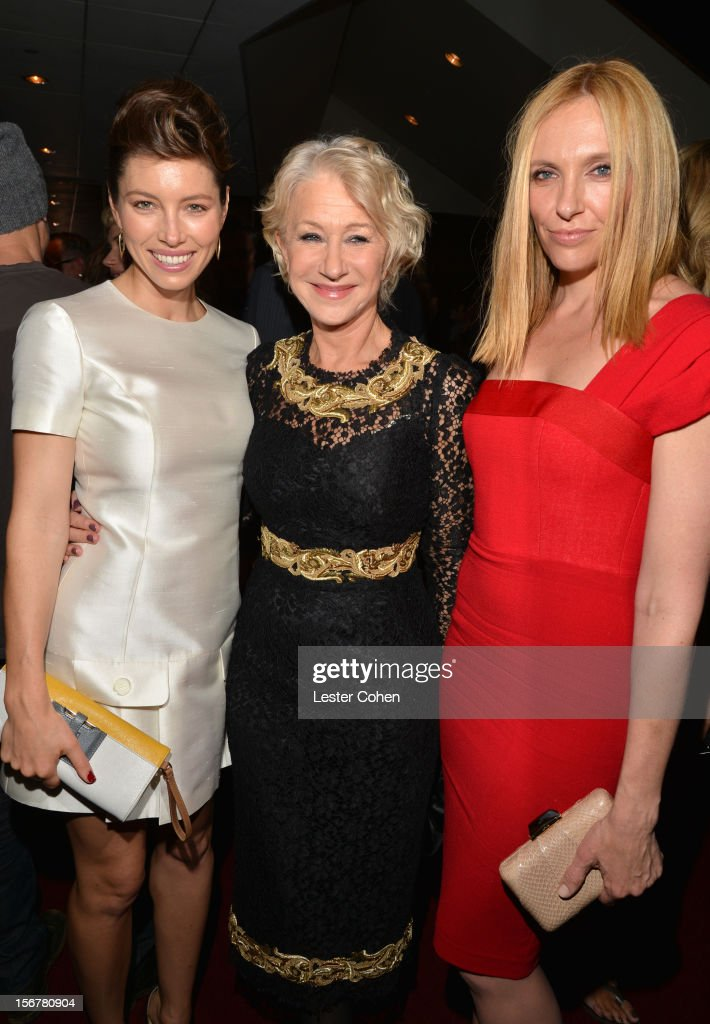 Actress Jessica Biel Dame Helen Mirren and actress Toni Collette attend the after party for the premiere of Fox Searchlight Pictures' 'Hitchcock' at...