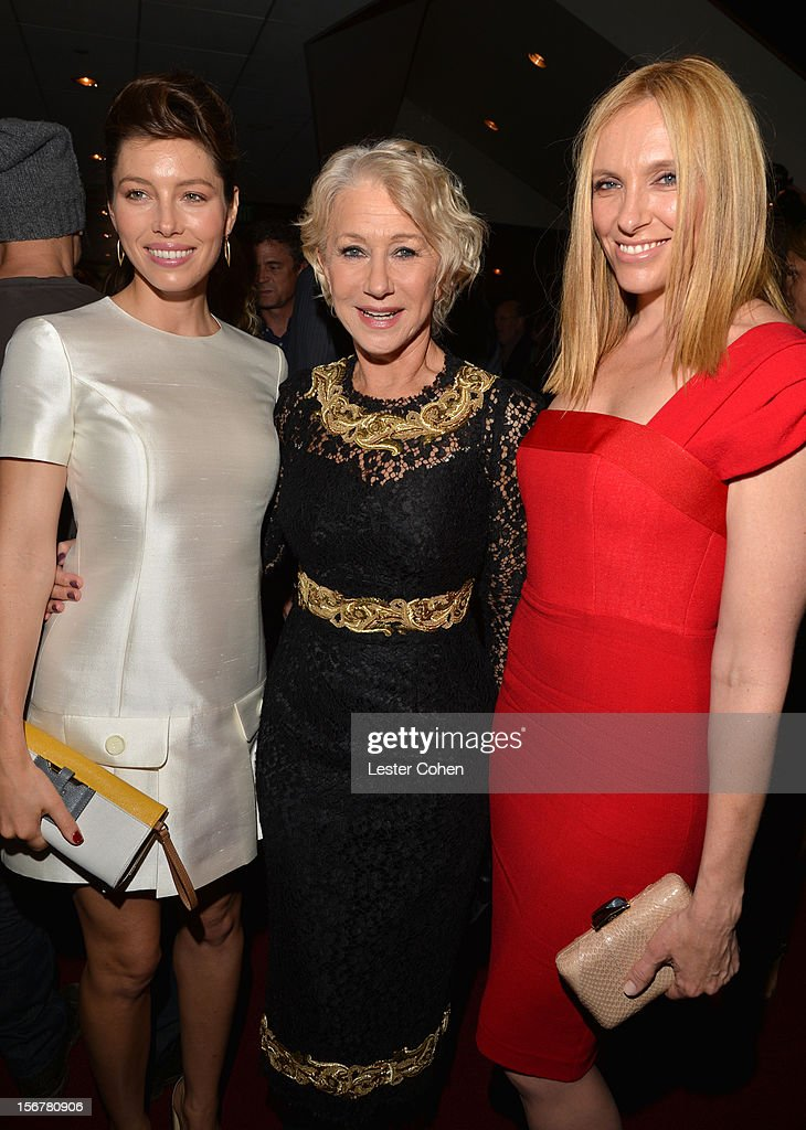 Actress Jessica Biel, Dame Helen Mirren and actress Toni Collette attend the after party for the premiere of Fox Searchlight Pictures' 'Hitchcock' at the Academy of Motion Picture Arts and Sciences Samuel Goldwyn Theater on November 20, 2012 in Beverly Hills, California.