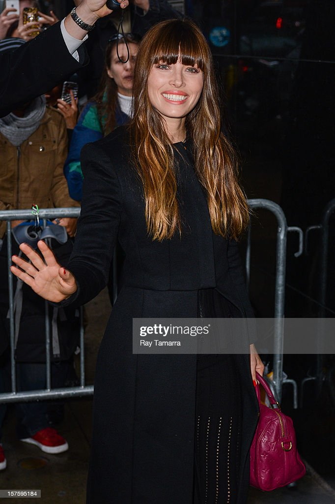 Actress <a gi-track='captionPersonalityLinkClicked' href=/galleries/search?phrase=Jessica+Biel&family=editorial&specificpeople=203011 ng-click='$event.stopPropagation()'>Jessica Biel</a> enters the 'Good Morning America' taping at the ABC Times Square Studios on December 4, 2012 in New York City.