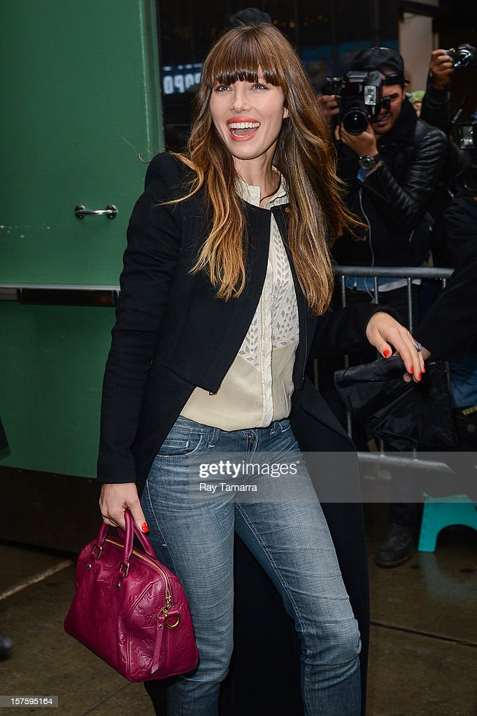 Actress <a gi-track='captionPersonalityLinkClicked' href=/galleries/search?phrase=Jessica+Biel&family=editorial&specificpeople=203011 ng-click='$event.stopPropagation()'>Jessica Biel</a> leaves the 'Good Morning America' taping at the ABC Times Square Studios on December 4, 2012 in New York City.