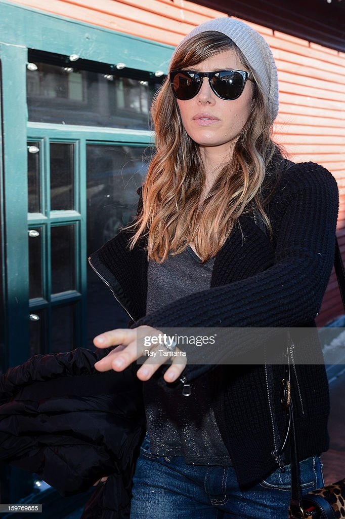 Actress Jessica Biel leaves the Nikki Beach Lounge at the Sky Lodge on January 19, 2013 in Park City, Utah.